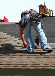 Roofer onroof installing shingles -5-03-09-08